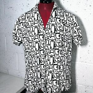 harve benard XL b/w belted button up blouse top